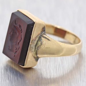 1860s Antique Victorian Estate 10k Yellow Gold Intaglio Carnelian Ring A9