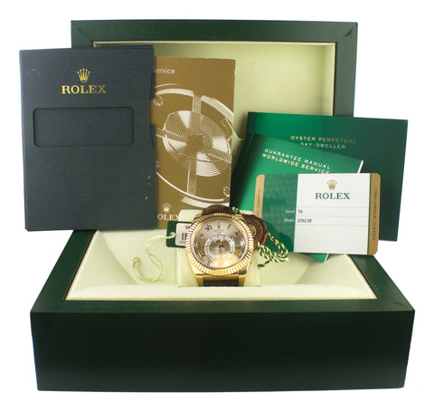 2015 Rolex Sky-Dweller 18K Yellow Gold 326138 42mm Leather Watch BOX PAPERS
