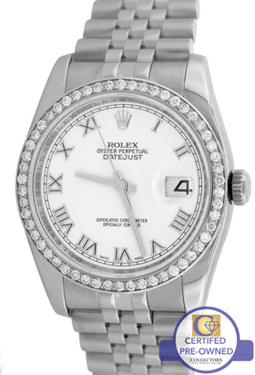 2008 MINT Rolex DateJust 116234 White 36mm Diamond Stainless Steel Jubilee Watch