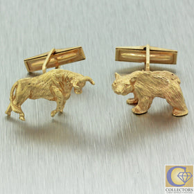 Vintage Estate 14k Solid Yellow Gold 585 Bear & Bull Animal Cufflinks