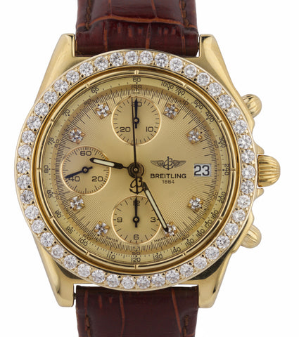MINT Breitling Chronomat 40mm Diamond Chronograph 18K Yellow Gold K13048 Watch