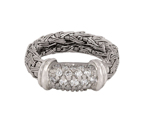 Women's Roberto Coin Metallic 18k White Gold 0.50ctw Diamond Woven Band Ring