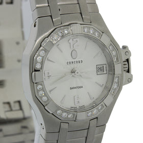 MINT Ladies Concord Saratoga Stainless Steel Diamond Date 25mm Watch 14.36.1840