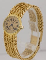 RARE Ladies Cartier Bueche Girod 18K Yellow Gold 25mm Roman Numeral Mesh Watch