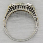 1930s Antique Art Deco 18k White Gold .62ctw Diamond Sapphire Band Ring G8