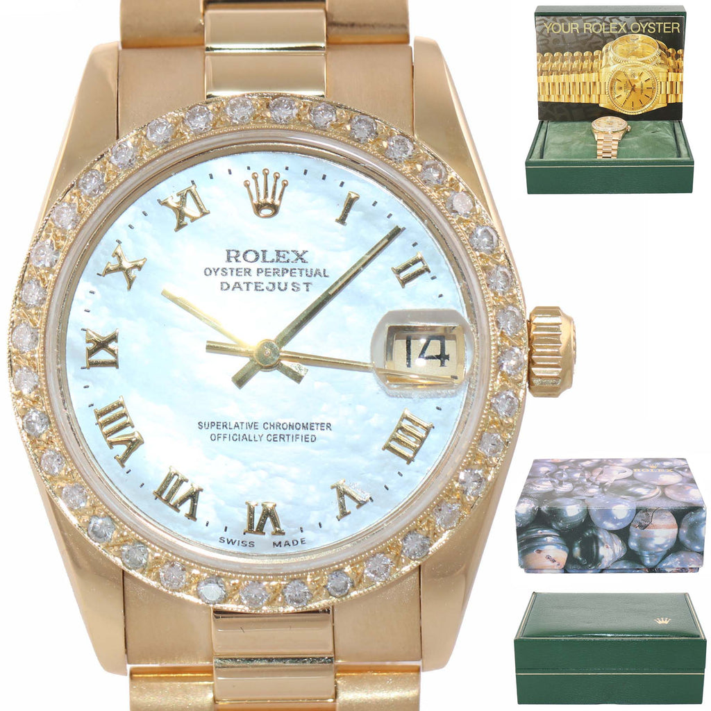 MINT Rolex President 68278 DateJust Midsize 31mm 18k Gold MOP Roman Watch Box.