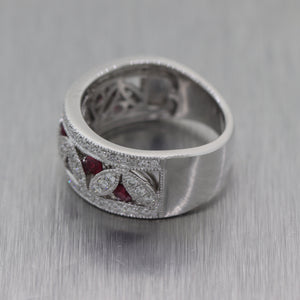 Modern 14k White Gold 1.60ctw Diamond & Ruby Band Ring