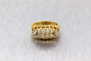 1880s Antique Victorian Estate 18k Yellow Gold Blue 1.48ct Old Diamond Band Ring