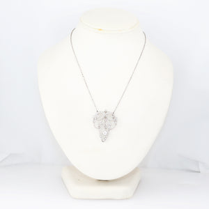 "1920's Antique Art Deco Platinum 2ctw Diamond Pendant 14"" Necklace"