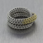 John Hardy 18k Yellow Gold & Sterling Silver Classic Chain Fashion Ring