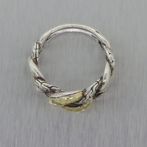 John Hardy Sterling Sterling Silver & 18k Yellow Gold Belmont Curb Link Ring
