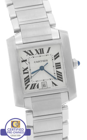 Cartier Tank Francaise Full-Size Automatic Stainless Date Watch W51002Q3 2302
