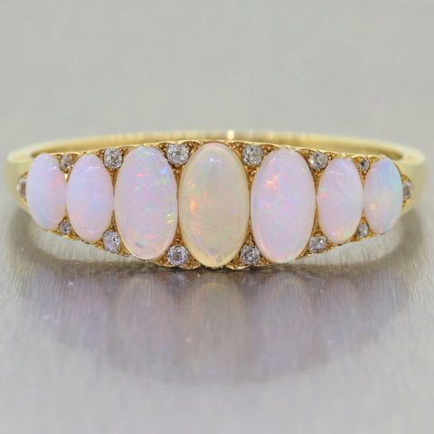 1920's Antique Art Deco 18k Yellow Gold Opal & 1.50ctw Diamond Bangle Bracelet
