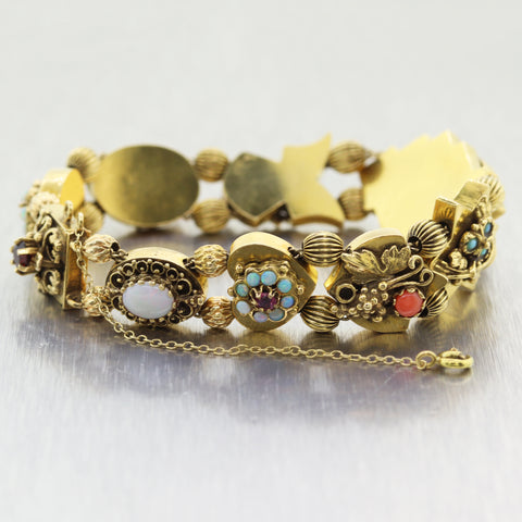 1890's Antique Victorian 14k Yellow Gold Charm Slide Bracelet