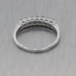 Modern 14k White Gold 0.90ctw Princess Cut Diamond Wedding Band Ring