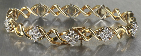 Ladies Estate 14K 585 Yellow Gold 2.40tcw Elegant Pattern Bracelet