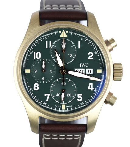 NEW IWC Spitfire Chronograph Day Date Green 41mm Bronze Auto IW387902 3879-02