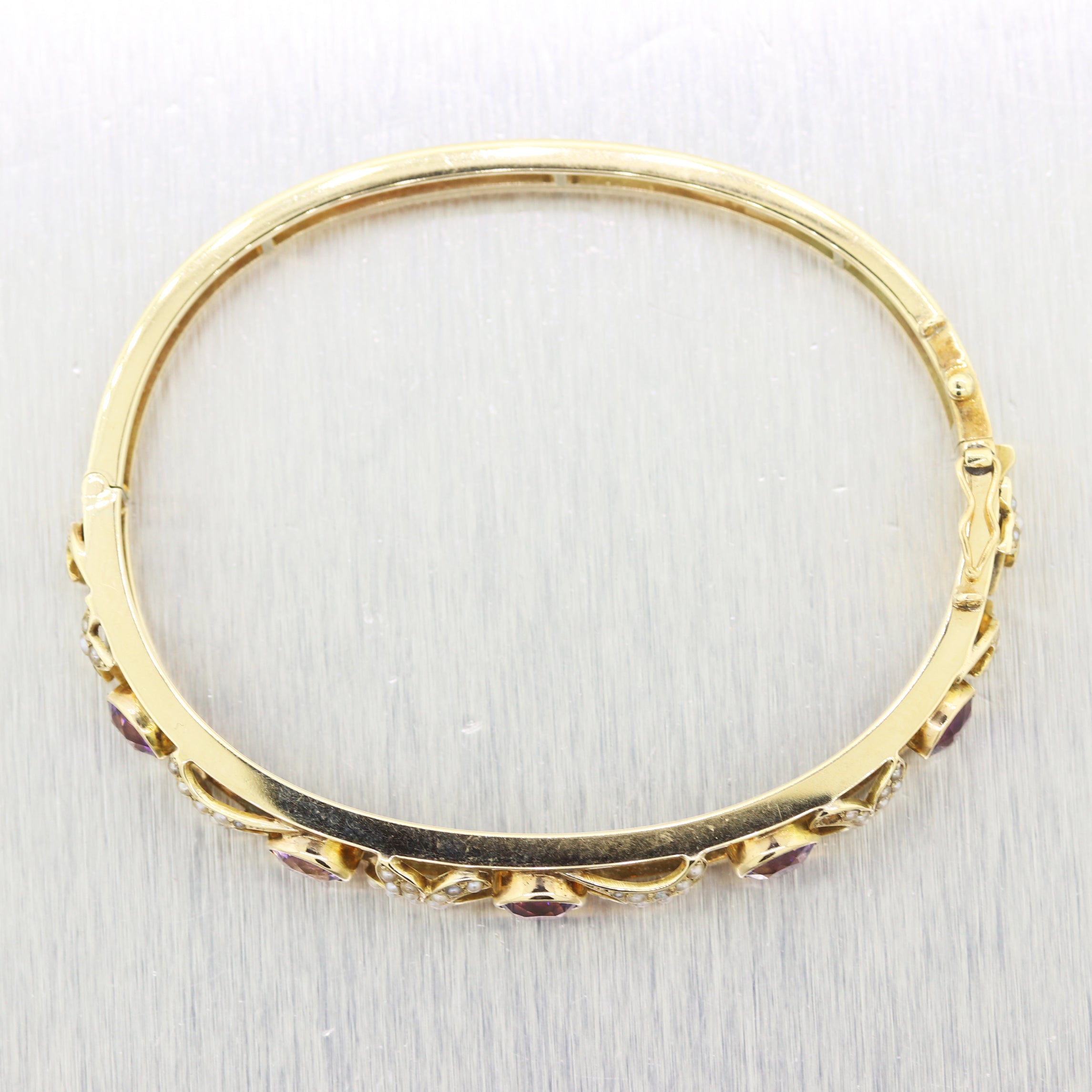 1880's Antique Victorian 14k Yellow Gold 3.75ctw Amethyst & Pearl Bangle Bracele
