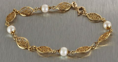 Vintage Antique Ladies Estate Filigree 14K 585 Yellow Gold Pearl Bracelet