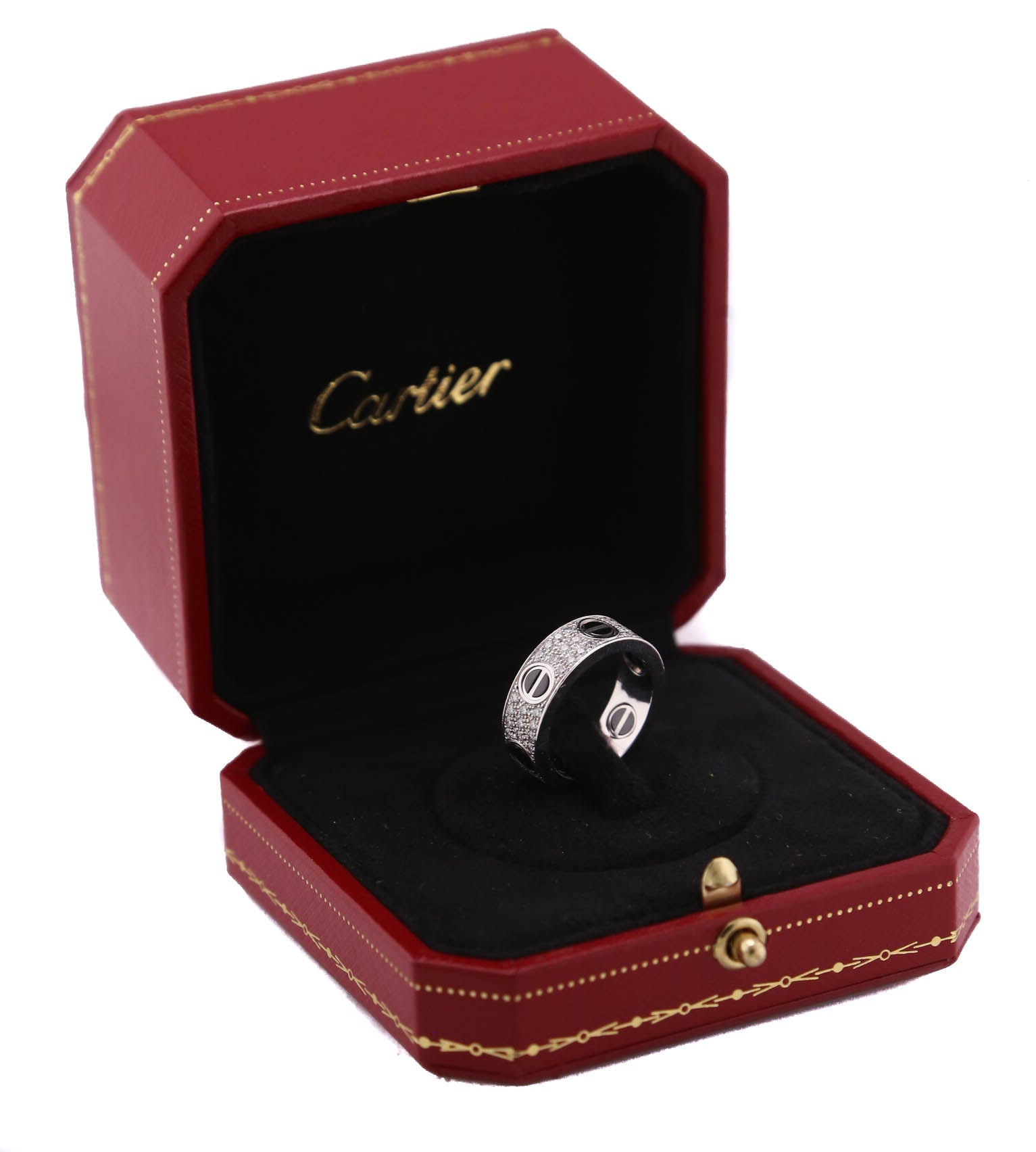 Cartier Love Diamond Ceramic 18K 750 White Gold Screw Band Ring Size 53 6.25