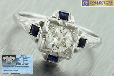 Antique Art Deco 18K Gold 0.75ct Old European Diamond Sapphire Engagement Ring