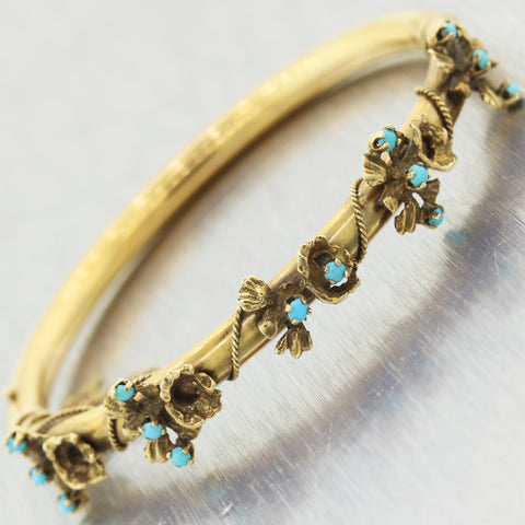 1890's Antique Victorian 14k Yellow Gold 0.50ctw Turquoise Flower Bracelet