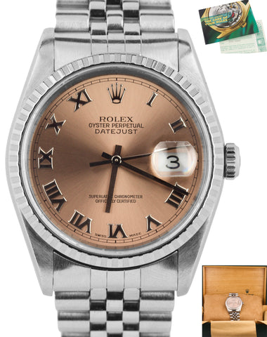 2002 Rolex DateJust Rose Roman Dial 36mm P 16220 Stainless Steel Jubilee Watch