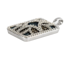 Women's Modern 10K White Gold 1.91ctw Multi-Color Diamond Patterned Pendant