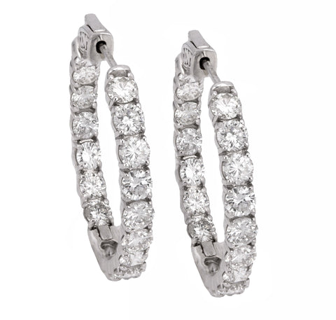 Modern 14K White Gold 7.40ctw Diamond 4mm x 31mm Inside Out Hoop Earrings