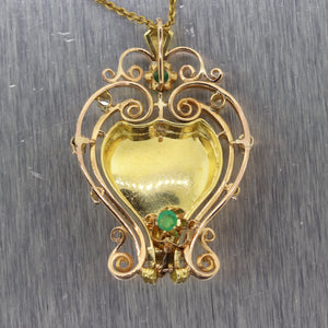 "1930's Antique Vintage Estate 18k Yellow Gold 1.30ctw Emerald & Diamond 24"" Neck"