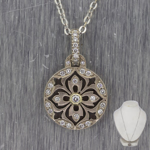 "Scott Colee 18k White Gold 0.32ctw Diamond Sand Dollar 20"" Necklace"