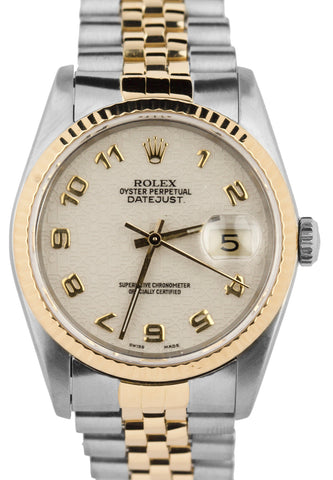 1990 Rolex DateJust 36mm 16233 50th Anniversary Dial Two-Tone Gold Steel Watch
