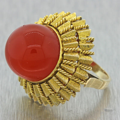 1960s Vintage Estate 14k Yellow Gold Carnelian Large Chunky Cocktail Ring