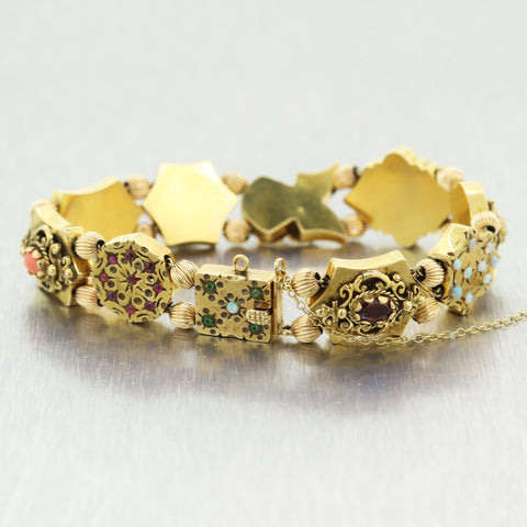 1880's Antique Victorian 14k Yellow Gold Multi Stone Slide Charm Bracelet