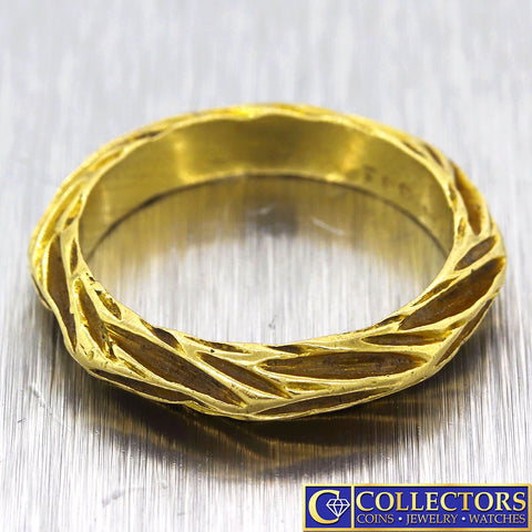 Vintage Estate Solid 18k Yellow Gold Ribbed 4mm Wedding Band Ring G8