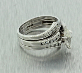Vintage Estate 14k Solid White Gold 1.00ctw Marquise Cut Diamond Engagement Ring