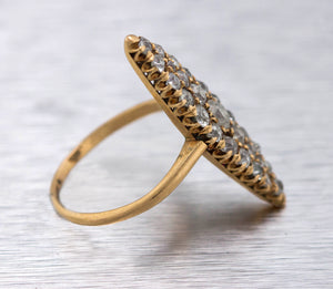 Ladies Estate 14K Yellow Gold 1.27ctw Diamond Navette Shaped Cocktail Ring