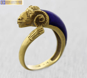 Ladies Vintage Estate 18K 750 Yellow Gold Blue Enamel Ram's Head Ring 4.0gr