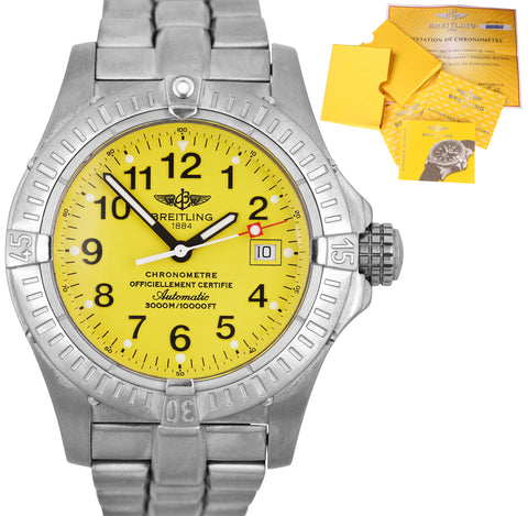 2003 Breitling Avenger Seawolf Automatic Yellow 44mm Titanium Date Watch E17370