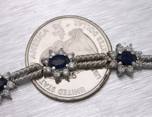 "Lovely Ladies 14K White Gold 2 CT Blue Sapphire Diamond Tennis 7.25"" Bracelet"
