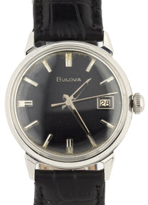 Vintage Bulova Stainless Steel Black Dial Date 34mm Engraved Leather Watch