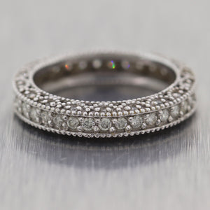 Vintage Estate 14k White Gold Milgrain 0.50ctw Diamond Wedding Band Ring