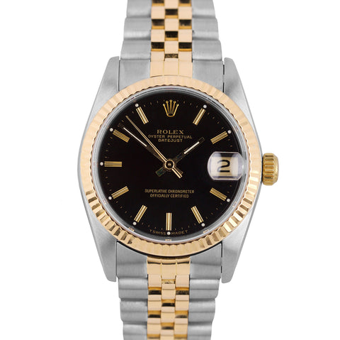 Rolex DateJust 31mm Midsize Two-Tone Stainless Gold 68273 Black Stick Watch