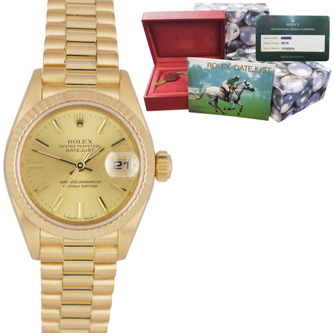 2019 ROLEX SERVICE DateJust President 26mm Champagne 18K Yellow Gold Watch 69178