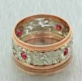 Antique Art Deco 14k Solid Yellow White Gold Red Ruby Filigree Wide Band Ring