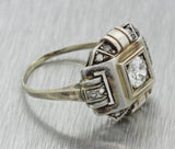 1930s Antique Art Deco 14k Solid White Gold .64ctw Diamond Ring EGL
