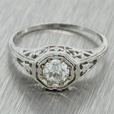 1920s Antique Art Deco 14k Solid Gold .52ct Diamond Engagement Ring EGL