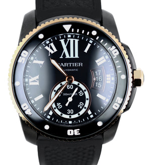 MINT Cartier Calibre Diver Carbon Rose Gold Steel Black 42mm Watch 3729 W2CA0004