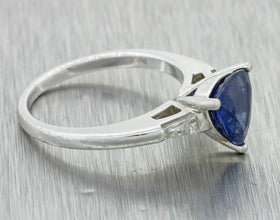 Vintage Estate Platinum Natural Trillion Cut Sapphire Diamomd Engagement Ring