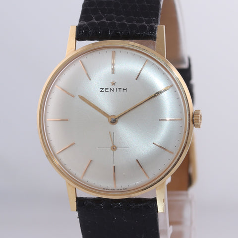 Vintage Zenith Solid 18k Yellow Gold 34mm Manual Wind Silver Stick Watch